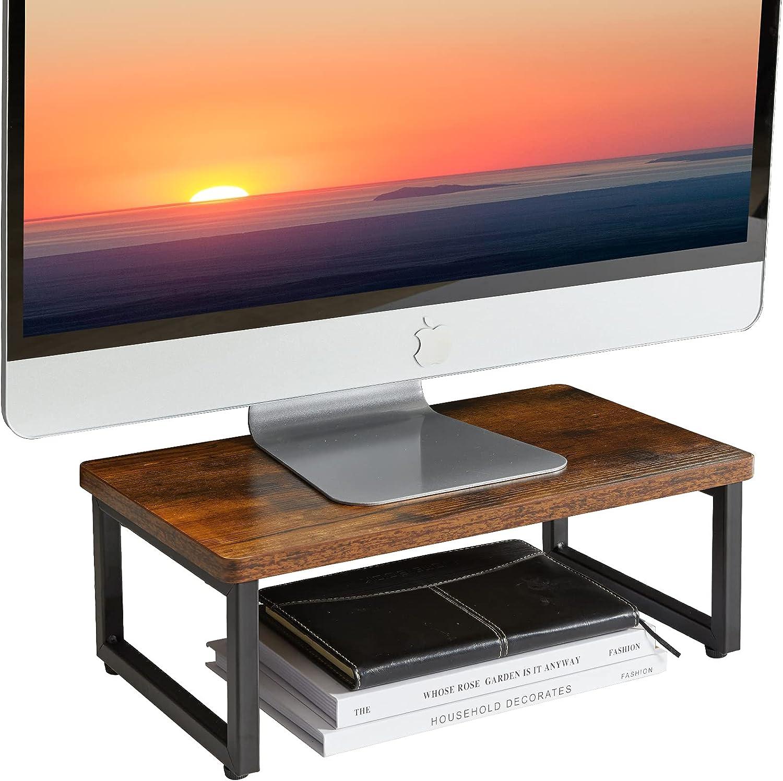 IBUYKE Vintage Wood Monitor Stand Riser, Multi-Purpose Desk & Tabletop Organizer, Desktop Storage Shelf, for Laptop, Computer, 15.75'' x 9'' x 5.7'', Rustic Brown TDJ001H