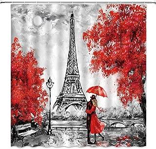 Tingrun Eiffel Tower Shower Curtain Romantic Couple Red Umbrella Trees Watercolor Paris City Scene Creative Building Retro Theme Picture Fabric Bathroom Curtain Set 71x71 Inch with Hooks,Gray …