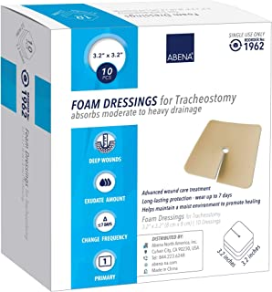 "Abena Foam Dressing w/Film Backing, Sterile - Trach, 3.2"" x 3.2"" Trach, 10Count"