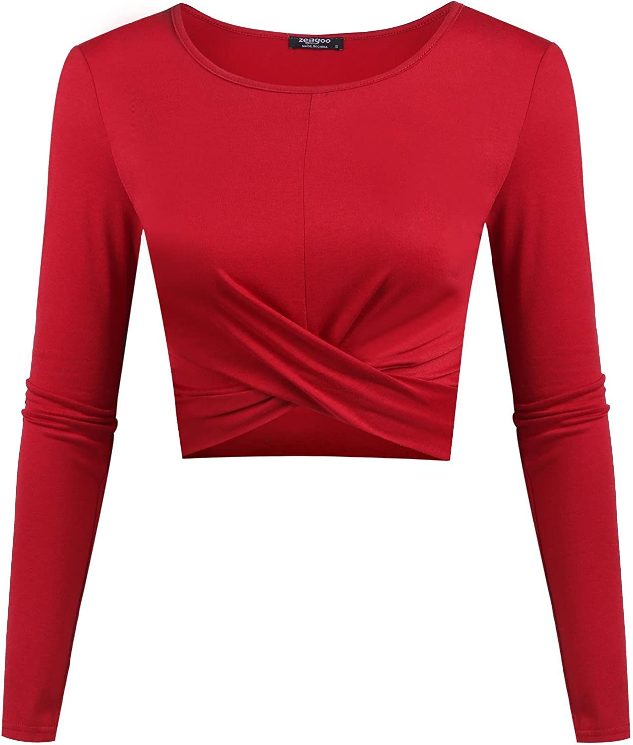 EASTHER Women Sexy Long Sleeve Twist Front Solid Slim Fit Crop Top