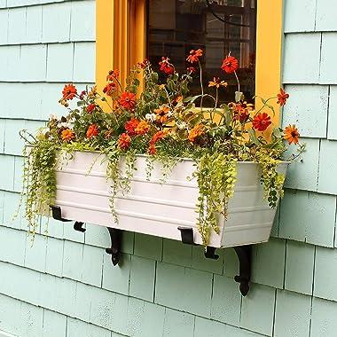 Achla Designs B-32 Scrolls Window Flower Box Bracket, Black