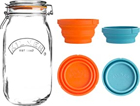 Kilner Store Jar Set, 102-Fluid Ounce Glass Canister with Collapsible Silicone Measuring Cups, Space-Saving & Convenient D...