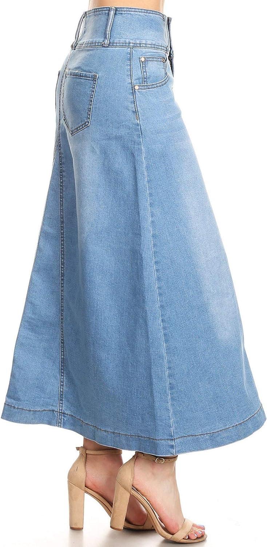 Women's Plus/Juniors Size High Rise A Line Long Jeans Maxi Flared Denim Skirt