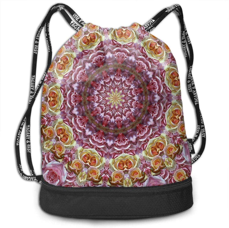 Gymsack pinks Mandala Kaleidoscope Print Drawstring Bags  Simple Hiking Sack