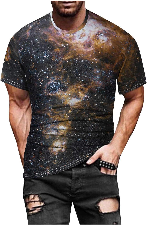 Mens Graphic Tees Casual Short Sleeve Crewneck Tshirt 3D Galaxy Tie Dye Pattern Vintage T Shirts Funny Casual Shirt
