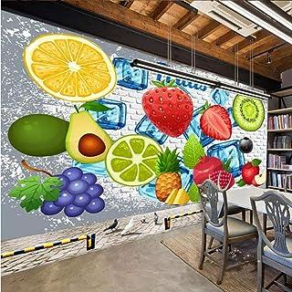 Ganjue Custom 3D Photo Wallpaper 3D Brick Wall Lemon Fresa Fruta Tienda Restaurante Leche Tea Shop