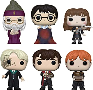 Funko Pop! Bundle of 6: Harry Potter - Dumbledore w/Baby Harry, Harry w/Invisibility Cloak, Hermione w/Feather, Malfoy w/Whip Spider, Neville w/Monster Book and Ron Puking Slugs