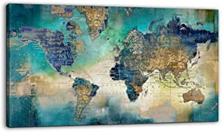 """Best Large World Map Canvas Prints Wall Art for Living Room Office """"24x48"""" Green World Map Picture Artwork Decor for Home Decoration Review"""