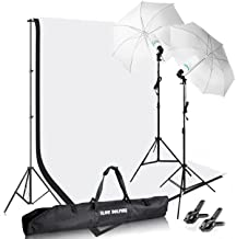 Slow Dolphin Photography Photo Video Studio Background Stand Support Kit with Muslin Backdrop Kits (White Black),1050W 5500K Daylight Umbrella Lighting Kit