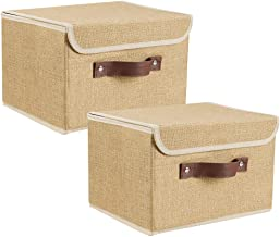 Lucky Monet 2 Pack Linen Fabric Foldable Storage Bin Set Collapsible Storage Box Cube Closet Organizer with Lid & Faux Lea...