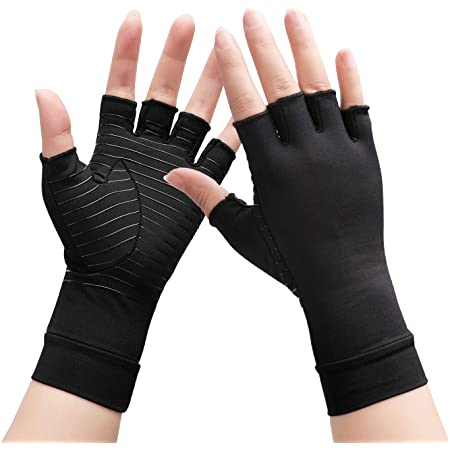 S 1pair UProtective Arthritis gloves/&Copper Compression gloves/&Relieve Pain Support gloves/&Copper Fiber gloves /&Fingerless Arthritis Gloves-Carpal Tunnel :Copper Fit glove for Women /& Men
