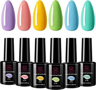 Makartt UV Gel Nail Polish Set Macaron Colors LED Gel Nail Kit 6 Bottles Soak Off Gel Summer Colors 10 ml with Gift Box P-17