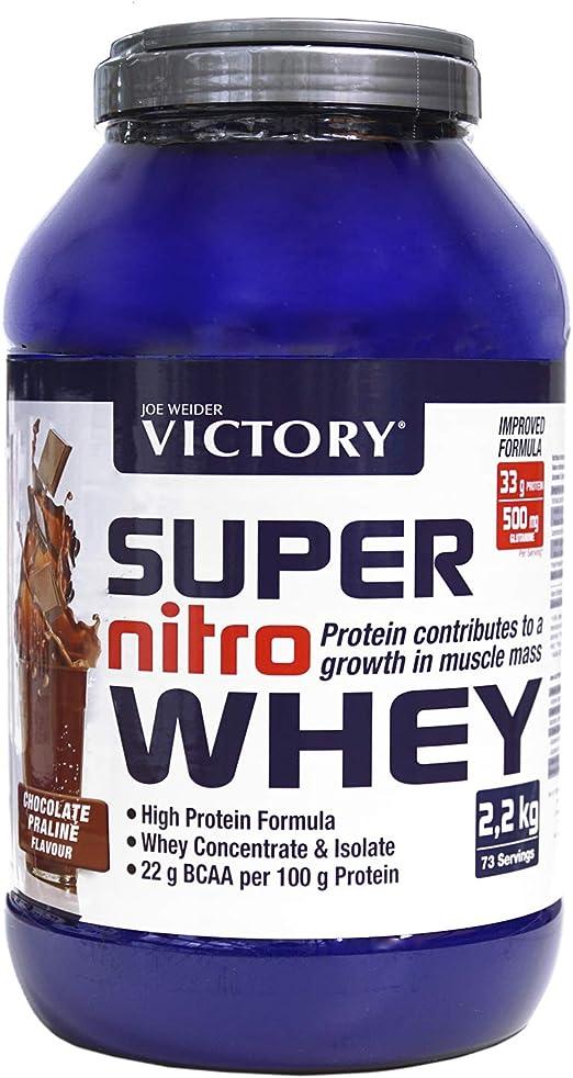 Victory Super Nitro Whey Chocolate-Praliné (2,2 kg). Concentrado y aislado de suero. Fuente proteica rica en BCAAs. Recuperación muscular. Con ...