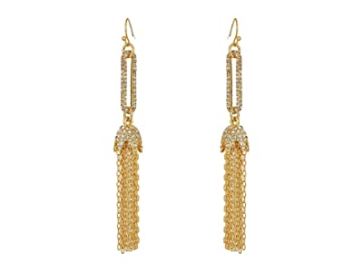 Vince Camuto Linear Tassel Earrings (Gold/Crystal) Earring