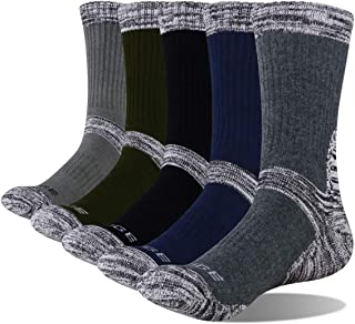 YUEDGE Men's Performance Cotton Athletic Sports Hiking Working Cushion Crew Socks 5Pairs/Pack