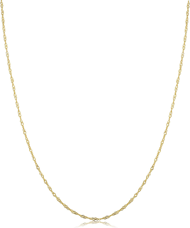 Kooljewelry 10k Yellow Gold Singapore Chain Necklace (0.7 mm, 1 mm, 1.4 mm, 1.7 mm)