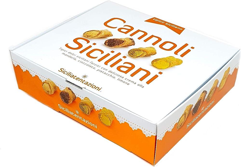8 cannoli siciliani farciti con crema alla mandorla, al pistacchio, al cioccolato, al limone,240 gr