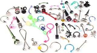 BodyJ4You 5-50PC Piercing Kit Mix of Body Piercing Jewelry 14G, 16G, 18G Belly Tongue Rings Barbells Pack