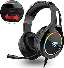 havit Micro Casque Gaming PS4,Casque Gamer RGB avec Micro Anti Bruit Audio Stéréo Basse 3.5mm Jack pour PS4/ Xbox One/PC/Mac/Nintendo Switch/Ordinateur/Tablette(H2011d)