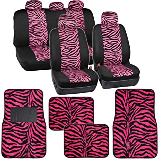 Two Tone Hot Pink Zebra Seat Covers Floor Mats for Car Truck SUV Auto Accessories