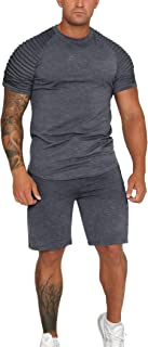 COOFANDY Men's Muscle T-Shirt and Shorts Sets Bodybuilding Workout Sport Sets Summer Jogging Running Football Tracksuit