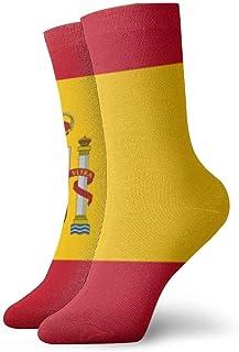 yting, Medias deportivas deportivas para hombre y mujer Bandera de España Divertidos calcetines de poliéster 30 cm