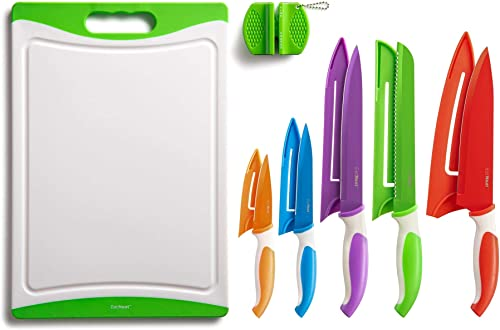 EatNeat 12-Piece Colorful Kitchen Knife Set - 5 Colored Stainless Steel Knives with Sheaths, Cutting Board, and a Sha...
