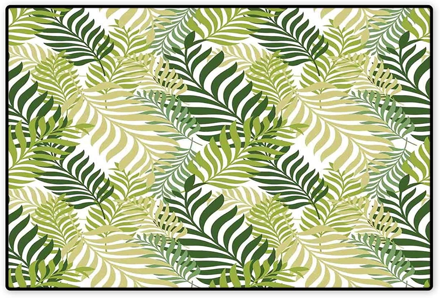 Leaves Door Mat Indoors Tropical Exotic Palm Tree Leaves Natural Botanical Spring Summer Contemporary Graphic Floor Mat Pattern 32 x48  Green Ecru