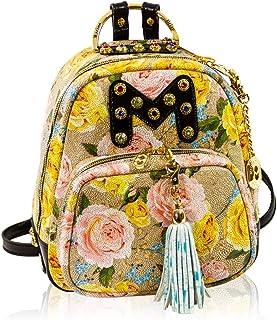 Marino Orlandi Women's Medium Handbag Italian Designer Backpack Tote Bucket Purse Croc Embossed Leather Top Handle Satchel Sling in Floral Design with Tassel and Swarvoski