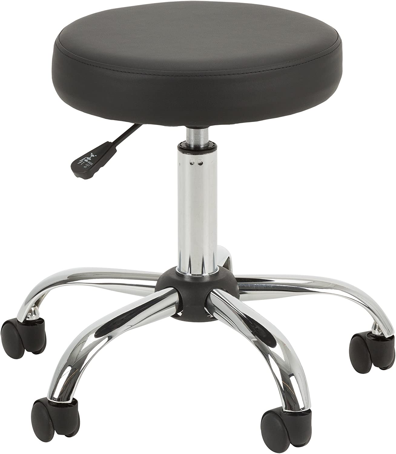 NOR-OUG1010-SO Adjustable-Height Chrome Plated Mobile Medical Stool w Extra Padding, Black