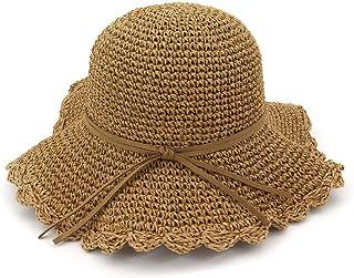 Songlin @ yuan Sunscreen Breathable Big Sun Hat Visor Women Travel Hat Spring Summer Fashion Openwork Straw Hat Garden Dome Fisherman Hat Size: 56-58cm (Color : Coffee, Size : 56-58CM)