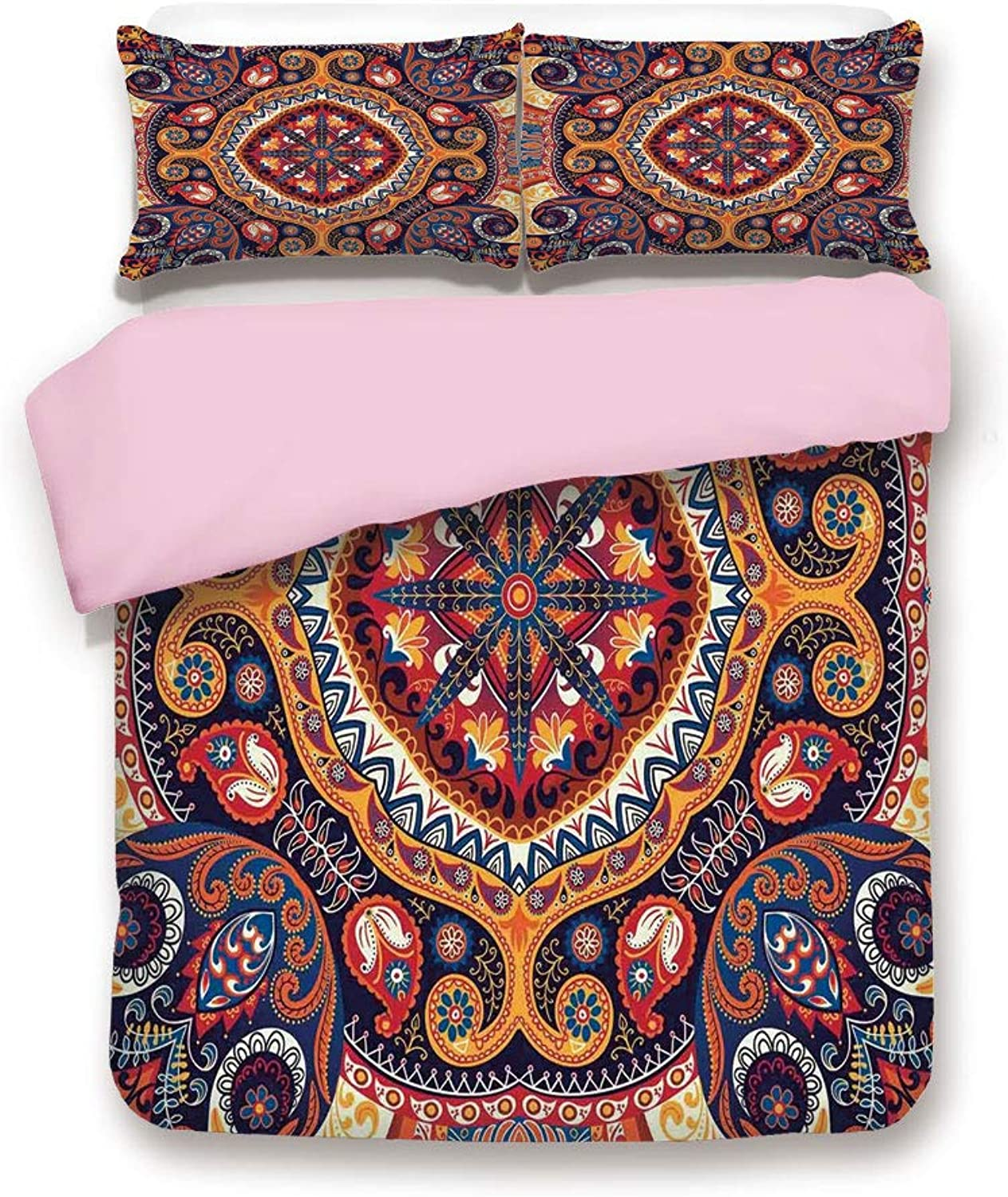 IPrint Pink Duvet Cover Set,Queen Size,Arabic Ornamental Rug Pattern Inspired Design with Flowers and Leaves,Decorative 3 Piece Bedding Set with 2 Pillow Sham,Best Gift for Girls Women,Multi colord