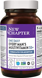 New Chapter Multivitamin for Men 50 Plus + Immune Support - Every Man's One Daily 55+ with Fermented Probiotics + Whole Fo...