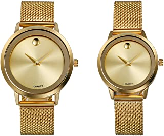 Men's and Ladies Japan Quartz 3ATM Water Resistant Watch Simple Classic Gold Tone Stailess Steel Band