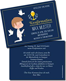 Einladung Einladungskarte Konfirmation Blau B07N1SDHKG  Ausgezeichnetes Handwerk