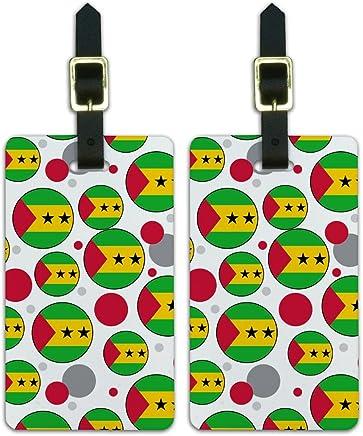 Graphics & More O-s-Sao - Bandera del país del Santo Tomé y Príncipe, Blanco, Una talla