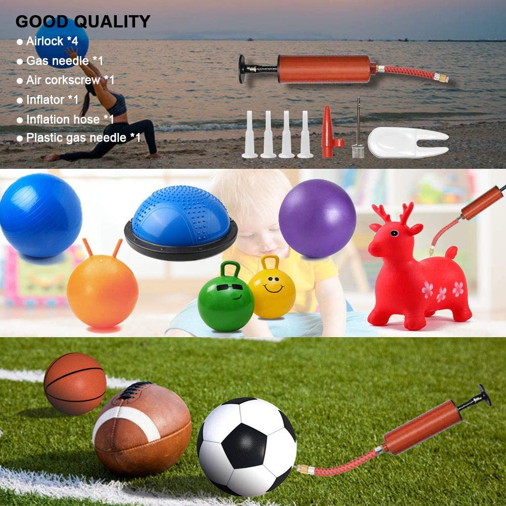 XIECCX Portable Hand Air Inflator Pump Kit with 4 Pcs Yoga Ball Plug 2 Pcs Inflate Needles 1 Pcs Valve Adapter 1 Pcs Extension Hose 1 Pcs Stopper Remover for Football Basketball Sport Ball Accessory