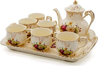 NEWQZ Creative European Luxury Tea Set of 8 Piece, Ivory Porcelain Coffee Set with Tea Tray, Hand Painted Rose Flower, for Wedding Decoration Evening Dinner, with a Gift Box