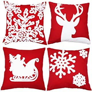sykting Christmas Pillow Covers for Farmhouse Winter Holiday Decorations Throw Pillow Covers with Embroidery Reindeer Sledge Snowflakes Red and White 18x18 inch Set of 4