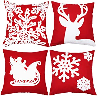 Sykting Christmas Pillow Covers for Farmhouse Winter Holiday Decorations Throw Pillow Covers with Embroidery Reindeer Sledge Snowflakes Red and White Set of 4 18x18 inch