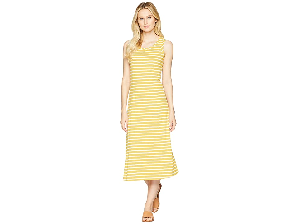 Joules Rosa Jersey Printed Midi Dress (Ochre Stripe) Women