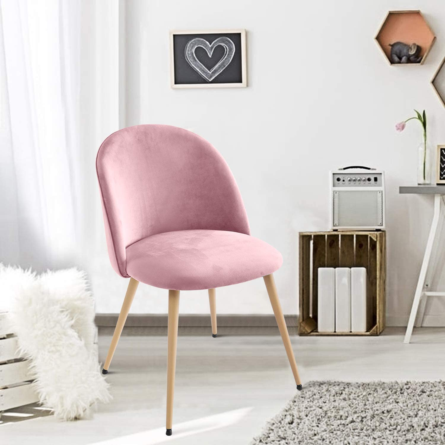 Topever Dining Chairs Velvet Fabric Thicker Soft Backrest&Cushion Upholstered Chair for Dining Living Room Bedroom Home Office Lounge Chair Set of 1 Pink