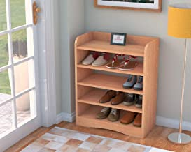 DecorNation Vegas 5 Tier Engineered Wood Shoe Rack/Shoe Case for Living Room and Home Entrance - Bavarian Beech