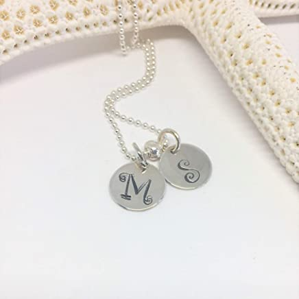 b8d563dfc Valentines Day Double Initial Necklace Sterling Silver/Personalized Hand  Stamped for 2 Children/Mothers