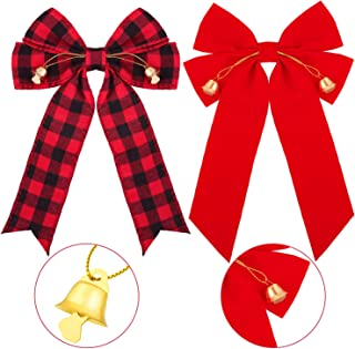12 Pieces Red and Black Buffalo Bow and Red Velvet Bow with Xmas Bells Christmas Plaid Bows Check Bows Holiday Decorative ...