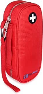 PracMedic Bags EpiPen Case or Auvi-Q Case,Insulated - Holds 2 Epi Pens or Auvi-Q, Asthma Inhaler, Anti-Histamine, Nasal Spray, Eye Drops, Travel Medicine Kit - Sold Empty (Red)