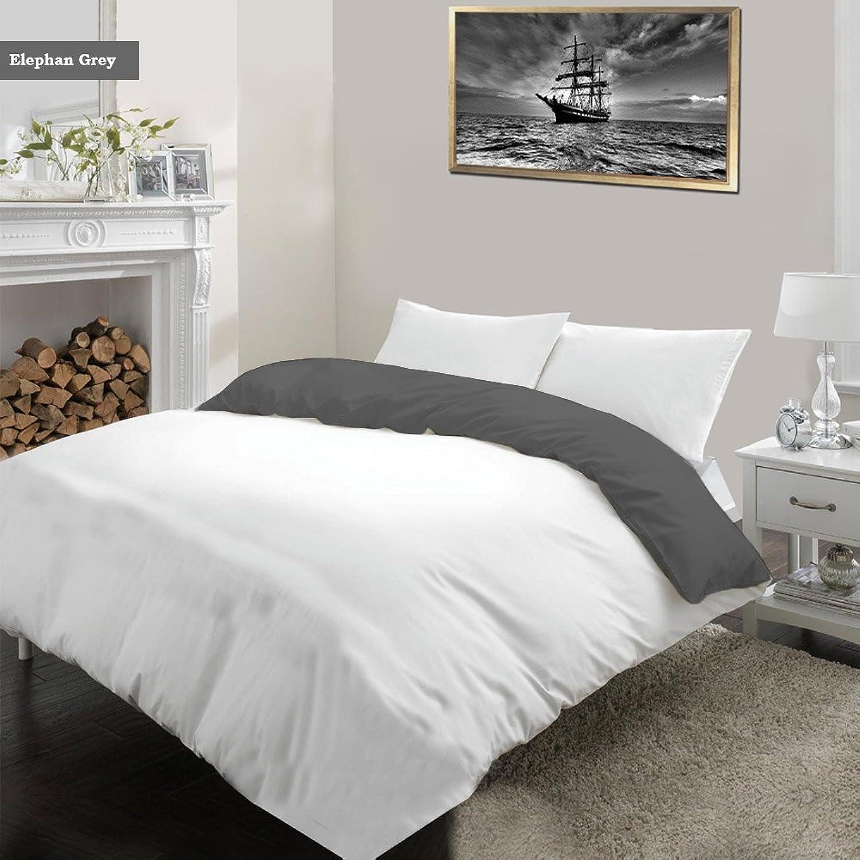 Noble Comfort Linen Parure de lit Luxueuse Ultra Douce et Soyeuse 100% Coton égypcravaten 3 pièces réversible, Blanc et gris éléphant, 1200 Fils