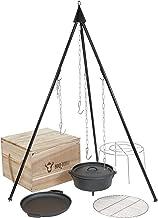 BBQ-Toro 6-teiliges Dutch Oven Kit in Holzkiste, Gusseisen, eingebrannt, Topf, Pfanne, Grillrost, Dreibein und mehr