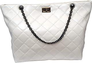 EXACT SELLER Damen Handtasche creme weiß Shopper Steppmuster Umhängetasche City Bag