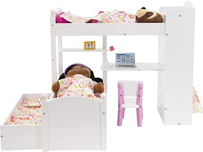 Amazon Com Playtime By Eimmie 18 Inch Doll Bunk Bed Set W Loft Trundle Accessories And Bedding Bedroom Set For 18 Inch Dolls Includes Doll Bed Bunk Bed And Accessories Toys Games